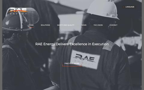 Screenshot of Home Page utquality.com - RAE Energy - delivering excellence to the oil and gas industry. - captured Feb. 28, 2016