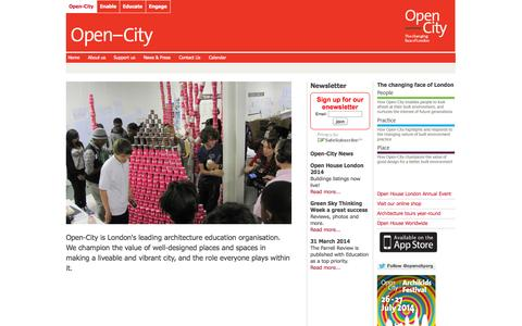 Screenshot of Home Page open-city.org.uk - Open-City the architecture education organisation - captured Sept. 30, 2014