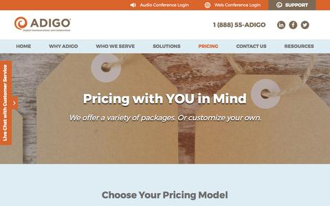 Screenshot of Pricing Page adigo.com - Conferencing Pricing Packages   Adigo - captured May 29, 2017
