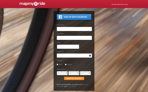 Screenshot of Signup Page mapmyride.com - Map your rides - captured Oct. 29, 2014