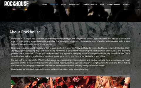 Screenshot of About Page therockhousebar.com - About Us  | Rockhouse Bar Las Vegas - captured Feb. 27, 2016
