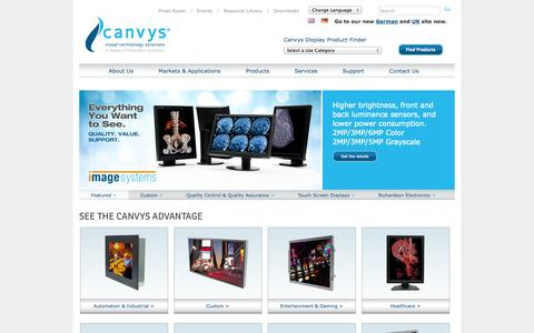 Screenshot of Home Page canvys.com - Visual Technology Solutions - Custom Monitors and Display Technology - captured Oct. 1, 2014
