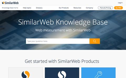 Screenshot of Support Page similarweb.com - SimilarWeb Knowledge Base - Web Measurement Learning Center - captured Oct. 1, 2015