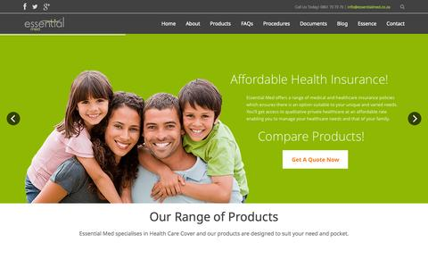 Screenshot of Home Page essentialmed.co.za - Affordable Hospital Plan Cover | Day to Day Cover | Comprehensive Cover - captured July 24, 2015