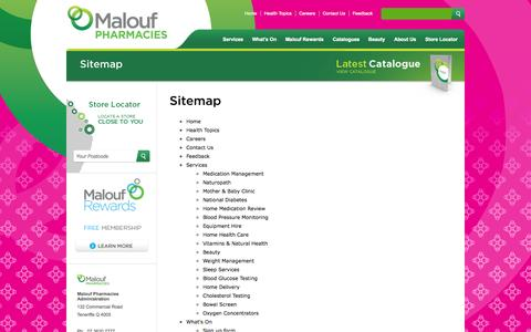 Screenshot of Site Map Page maloufpharmacies.com.au - Sitemap - captured Sept. 30, 2014