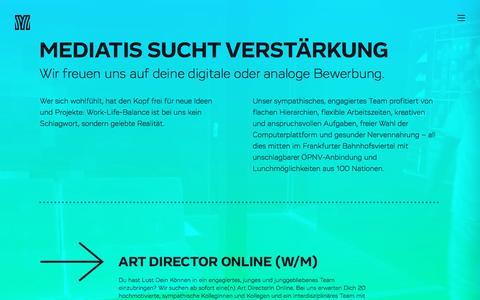 Screenshot of Jobs Page mediatis.de - Mediatis AG – Wir suchen Verstärkung für unser Team - captured Aug. 27, 2016