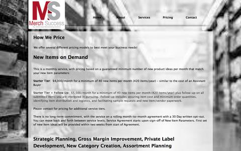 Screenshot of Pricing Page merchsuccess.com - merch success/retail merchandising solutions/chapel hill nc - captured June 10, 2017