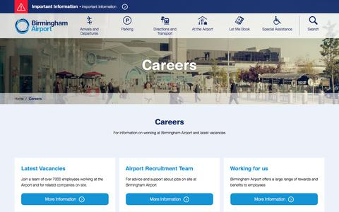 Screenshot of Jobs Page birminghamairport.co.uk - Careers - Birmingham Airport Website - captured Feb. 7, 2016