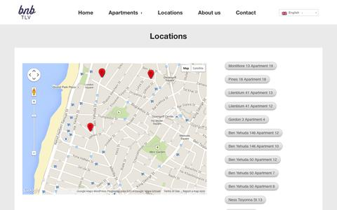 Screenshot of Locations Page bnbtlv.com - Locations  |  Work Rest Play. | Luxury Apartment Rentals In Tel Aviv, Israel. - captured Sept. 30, 2014