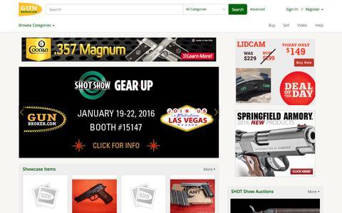 Screenshot of Home Page gunbroker.com - Guns for Sale - Online Gun Auction - Buy Guns at GunBroker.com - captured Jan. 22, 2016