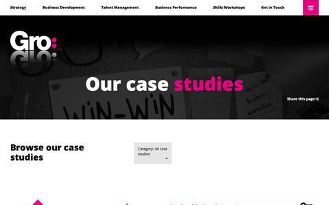 Screenshot of Case Studies Page thegrogroup.com - Case Studies Archive - theGrogroup - theGrogroup - captured Sept. 21, 2018