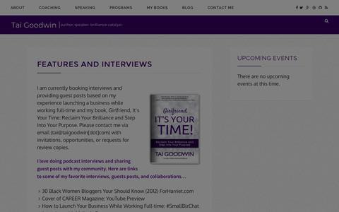 Screenshot of Press Page taigoodwin.com - Features and Interviews – Tai Goodwin - captured Jan. 20, 2016