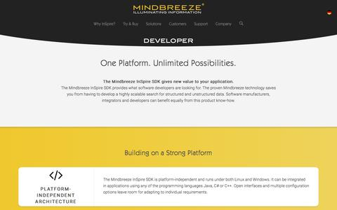 Screenshot of Developers Page mindbreeze.com - Developer | Mindbreeze - captured Dec. 2, 2016