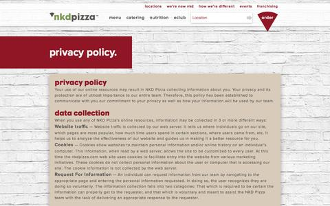 Screenshot of Privacy Page nkdpizza.com - Privacy Policy | NKD Pizza - captured Dec. 5, 2016