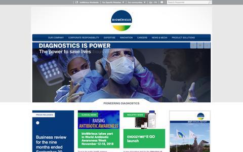 Screenshot of Home Page biomerieux.com - bioMérieux Corporate Website | Pioneering diagnostics to improve public health - captured Nov. 6, 2018