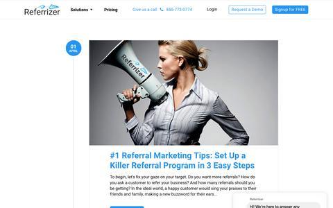 Screenshot of Blog referrizer.com - Blog – Referrizer - captured May 4, 2019