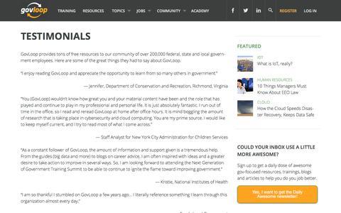 Screenshot of Testimonials Page govloop.com captured July 21, 2018