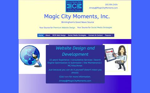 Screenshot of Home Page magiccitymoments.com captured Oct. 2, 2018