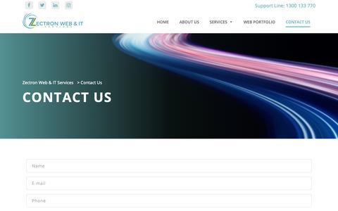 Screenshot of Contact Page zectron.com.au - Contact Us - Zectron Web & IT Services - captured Oct. 18, 2018