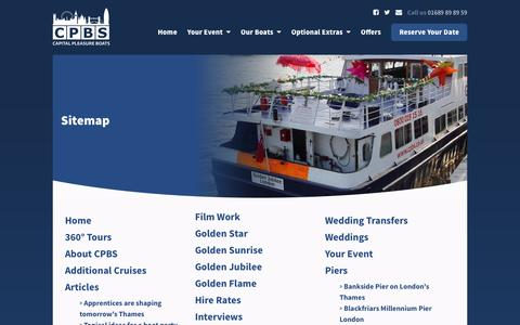 Screenshot of Site Map Page cpbs.co.uk - CPBS Site Map  River Thames Boat Hire   Capital Pleasure Boats - captured Oct. 20, 2016