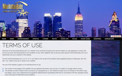 Screenshot of Terms Page manhattanbabe.com - Terms of Use Â«  Manhattanbabe - captured Nov. 19, 2016