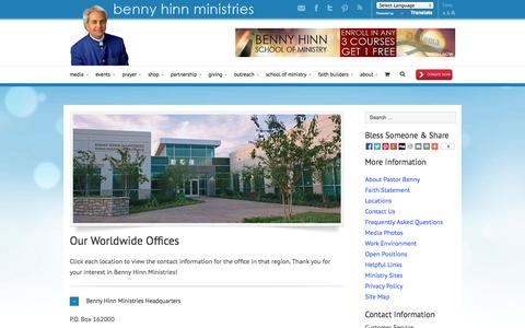 Screenshot of Locations Page bennyhinn.org - Locations - Benny Hinn Ministries - captured Oct. 5, 2014