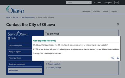 Screenshot of Contact Page ottawa.ca - Contact the City of Ottawa | City of Ottawa - captured Aug. 1, 2017