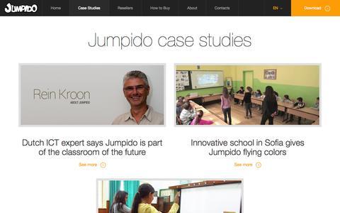 Screenshot of Case Studies Page jumpido.com - Jumpido case studies | Jumpido: Educational games for Kinect - captured Sept. 16, 2014