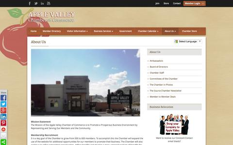 Screenshot of About Page avchamber.org - About Us - Apple Valley Chamber of Commerce - captured Oct. 4, 2014