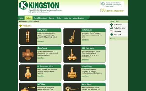 Screenshot of Products Page kingstonvalves.com - Products - captured Jan. 9, 2016