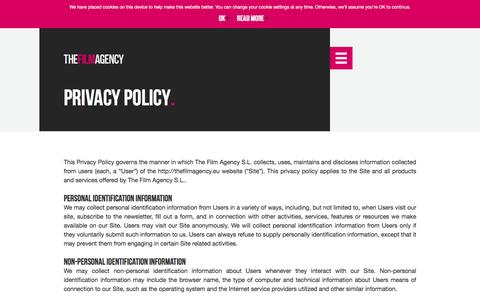 Screenshot of Privacy Page thefilmagency.eu - Privacy policy – The Film Agency - captured Aug. 14, 2016