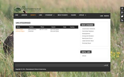 Screenshot of Contact Page rhenosterspruit.co.za - Contacts - captured Oct. 7, 2014