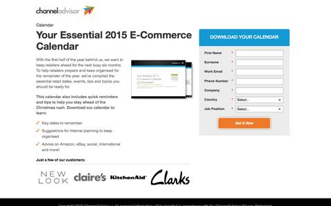 Screenshot of Landing Page channeladvisor.com - Your Essential 2015 E-Commerce Calendar - captured March 23, 2016