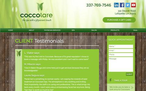 Screenshot of Testimonials Page coccolarespa.com - Medical Aesthetics | Lafayette | Coccolare Spa | Testimonials - captured July 19, 2018
