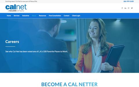 Screenshot of Jobs Page calnettech.com - Start A Career At Cal Net, A NexusTek Company | Cal Net - captured Sept. 20, 2018