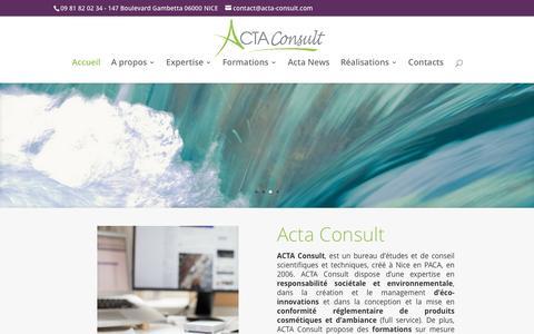 Screenshot of Home Page acta-consult.com - Acta Consult - Expertise en Responsabilité sociétale environnementale - captured May 28, 2017