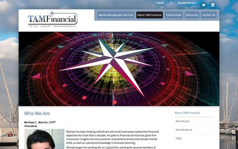 Screenshot of Team Page tamfinancial.net - Who We Are - Tam Financial Advisors - captured Oct. 18, 2018