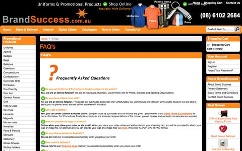 Screenshot of FAQ Page brandsuccess.com.au - Brand Success Uniforms & Promotional Products - Frequently Asked Questions - captured Sept. 30, 2014