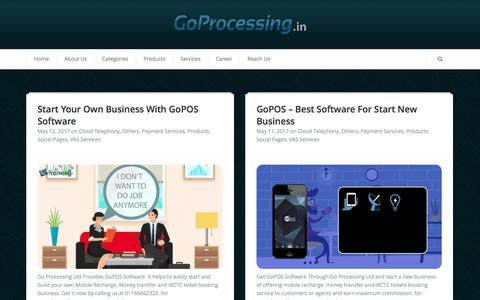 Screenshot of Blog goprocessing.in - Go Processing - India's Fastest Growing Aggregator for Digital Payment - captured May 12, 2017