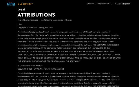 Attributions | Sling TV