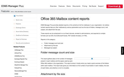 Office 365 Mailbox content reports | O365 Manager Plus