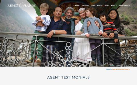 Screenshot of Testimonials Page remotelands.com captured Nov. 15, 2017