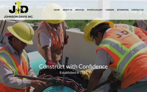 Screenshot of Home Page johnsondavis.com - Johnson-Davis works on underground utility projects including storm drainage, water mains, sanitary sewers. - captured Nov. 9, 2018