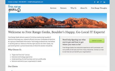Screenshot of Home Page freerangegeeks.com - Free Range Geeks, Boulder's Happy Go-Local IT Experts - captured June 17, 2015