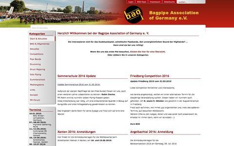Screenshot of Home Page Menu Page bagev.de - Bagpipe Association of Germany e. V. - Start & Aktuelles - captured June 10, 2016