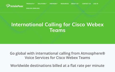 Screenshot of Pricing Page intelepeer.com - International Calling for Cisco Webex Teams - IntelePeer Cloud Communications - captured June 13, 2019
