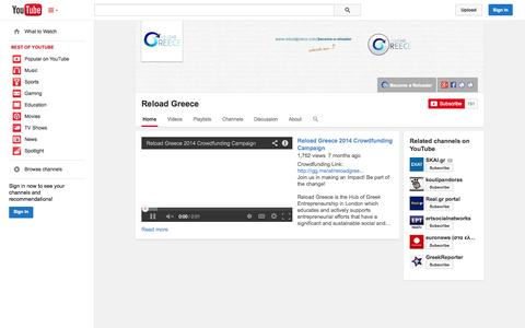 Screenshot of YouTube Page youtube.com - Reload Greece  - YouTube - captured Oct. 26, 2014