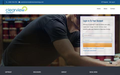 Screenshot of Login Page clearviewenergy.com - Clearview Energy | Customer Portal - captured March 20, 2019