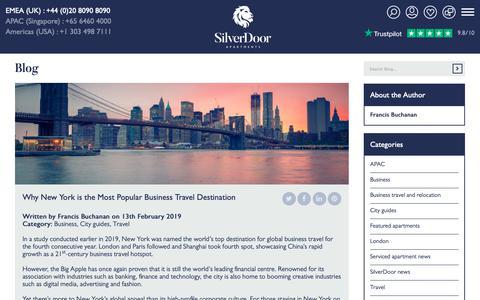 Screenshot of Blog silverdoorapartments.com - Why New York is the Most Popular Business Travel Destination | Blog | SilverDoor - captured June 18, 2019