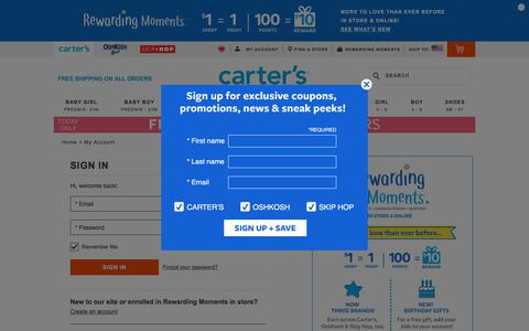 Screenshot of Login Page carters.com - Sign In | Carter's - captured Feb. 26, 2018